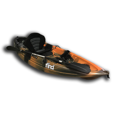 PRESALE Find Stealth 2.7 Fishing Kayak Orange Camo Single 5 Rod Holders Deluxe Seat Paddle