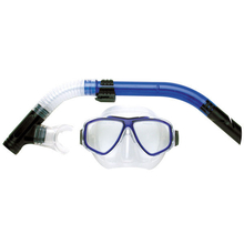 Land & Sea Aristocrat Silicone Twin Lens Mask & Snorkel Set Blue