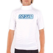 Ocean & Earth Boys Script Short Sleeeve Rash Vest White