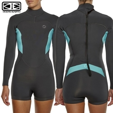 Ocean & Earth 2/2mm GMS Ladies Boyleg Long Sleeve Neoprene Wetsuit - Charcoal