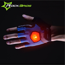 ROCKBROS Unisex Summer Half Finger Riding Gloves With Intelligent Steering Light Luminous Gloves