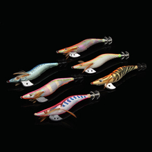 13.5cm Wood Squid Hard Bait Double Layers Jig Fishhook Lure Octopus Shrimp Wood Baits Lures