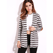 FIND™ Casual Women Shawl Collar Elbow Patch Striped Open Front Cardigan Long Sleeve