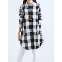 FIND™ Women Casual Long Sleeve Plaid Loose Pocket Button Long Blouses