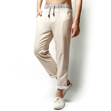 FIND™ Linen Solid Color Casual Loose Men Long Trousers Flax Leisure Pants