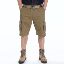 FIND™ ChArmkpR Plus Size 30-46  Mens Military Multi Pocket Cargo Shorts Cotton Solid Color Work Shorts