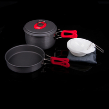 Alocs Camping Hiking 1-2 Persons Cookware Portable Picnic Cooking Pot Pan Bowl Cooker Set