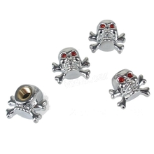 4 Pcs Creation Personality Silver Skull Shaped Tyre Valve Cap Universal Gas Nozzle Dust Cover
