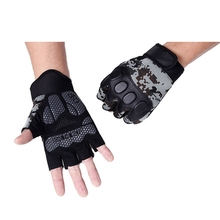 Mens Tactical Half Finger Gloves Microfiber Slip Resistant Gloves For Fitness Riding Sports