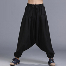 Men Yoga Loose Drop Crotch Pants Male Casual Harem Pants Elastic Cotton Linen Bloomers Trousers