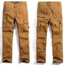 FIND™ Men Casual Multi Pocket Solid Color Straight Leg Cotton Cargo Pants Trousers Size 30-40