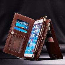 For iPhone 6/6s Plus 5.5 2 In 1 Multi-slot PU Leather Detachable Zipper Wallet Kickstand Case""