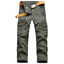 FIND™ Loose Cargo Pants Mens Outdoor Casual Cotton Multi Big Pocket Trousers