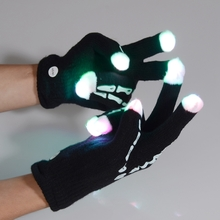 A Pair Of Bicycle Riding LED Lighting Gloves Flashing Finger LED Mittens Magic Gloves Black