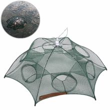 Foldable 6 Holes Fishing Net Fish Shrimp Minnow Crab Baits Cast Mesh Trap Cage