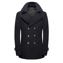 FIND™ British Fashion Double Breasted Style Wool Blend Jacket Thick Lapel Collar Pea Coats