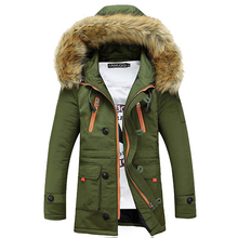 FIND™ Fall  Winter Clothing Mens Cotton - padded Slim Hooded Thick Fur Collar Long Coat