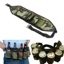 Outdoor 6 Packs Portable Beer Soda Waist Holder Camouflage Party Hands Free Drink Carrier Belt