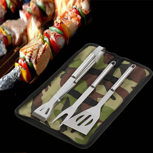 3Pcs BBQ Barbecue Tableware Stainless Steel Cooking Fork Gripper Turner Set Portable Bag Utensil
