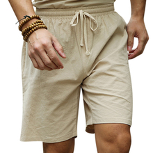 FIND™ Large Size S-4XL Chinese Wind Cotton Linen Knee-length Shorts Summer Drawstring Casual Shorts