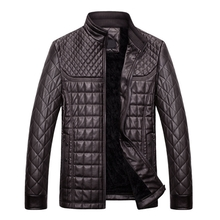 FIND™ Autumn Winter Fashion Men's PU Leather Jacket Plush Thick Warm Jacket Casual Stand Collar Coat