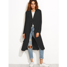 FIND™ Women Casual Trench Coat Jacket Long Sleeve Waterfall Belted Blazer
