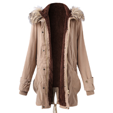 FIND™ Plus Size Casual Women Fur Collar Hooded Thick Coats