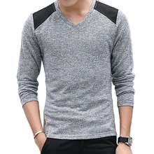 FIND™ Autumn Men's Fashion V-collar Pullovers Sweater Solid Color Slim Fit Casual Knit Sweater