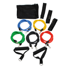 11 PC Fitness Latex Resistance Bands Elastic Strap Exercise Set