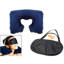 Travel Neck Cushion Inflatable Air Pillow With Eye Mask Ear Plugs For Sleep