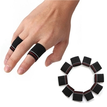 10pcs Finger Protector Guard Support Stretchy Sports Aid Band Black