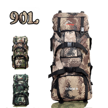 90L Outdoor Trekking Backpack Rucksack Mountaineering Shoulder Bag Camo For Camping Hiking