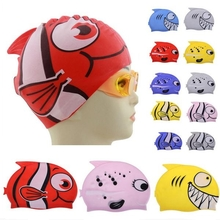 Children Waterproof Soft Silicone Swimming Cap Cartoon Fish Pattern Diving Cap