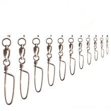 20pcs Fishing Ball Bearing Swivel Coastlock Snap Connector Saltwater 1-9#