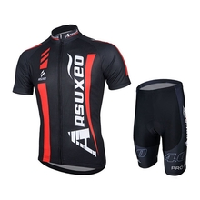 ARSUXEO Short-sleeve Suit Bicycle Bike Clothes Cycling Jersey Set Shirts Cycling Suit