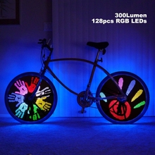 128 RGB LED 18 Patterns DIY Programmable Bicycle Spoke Bike Wheel Light Bicycle Hot Wheels