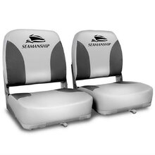 Set of 2 Swivel Folding Marine Boat Seats Grey Black