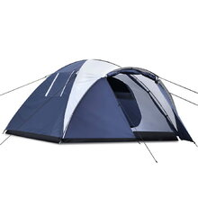 4 Person Canvas Dome Camping Tent - Navy & Grey