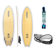 "Force 6'0"" Ecoflex Epoxy Bamboo Quad Fun Fish Surfboard + Cover + Leash Package"