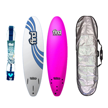 "Find Tuffrap 7'0"" Soft Surfboard Package Pink Softboard, Cover, Fins & Pro Double Swivel Leg Rope"