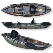 FIND™ Stealth 2.7 Single Fishing Kayak Jungle Camo with Deluxe Seat, Leash, Paddle & Rod Holder
