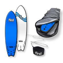 "FIND™ 6'9"" Tufflex 2 Quadfish Blue Soft Surfboard Softboard + Padded Silver Cover + Leash Package"