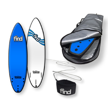 "FIND™ 6'0"" Tufflex 2 Thruster Blue Soft Surfboard Softboard + Padded Silver Cover + Leash Package"