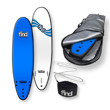 "FIND™ 7'0"" Tufflex 2 Thruster Blue Soft Surfboard Softboard + Padded Silver Cover + Leash Package"