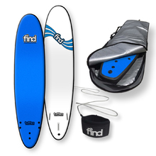 "FIND™ 8'0"" Tufflex 2 Mini Mal Blue Soft Surfboard Softboard + Padded Silver Cover + Leash Package"