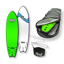"FIND™ 6'9"" Tufflex 2 Quadfish Green Soft Surfboard Softboard + Padded Silver Cover + Leash Package"