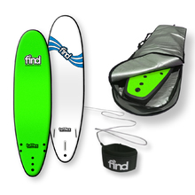 "FIND™ 7'0"" Tufflex 2 Thruster Green Soft Surfboard Softboard + Padded Silver Cover + Leash Package"