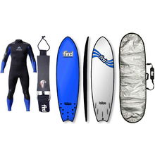 "FIND™ 6'9"" Tuffpro Quadfish Blue Soft Surfboard Softboard + Padded Silver Cover + Leash + Wetsuit Package"