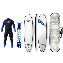 "FIND™ 8'0"" Tuffpro Mini Mal White Soft Surfboard Softboard + Padded Silver Cover + Leash + Wetsuit Package"