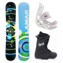 Lamar Bronze Snowboard Package Fullcap Trooper Flat Rocker 161cm With Bindings and Boots